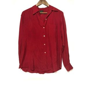 J Crew 100% Silk Red Button Down Pocket Shirt
